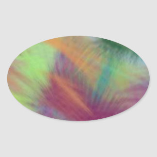 Colorful Lemon Yellow Pink Berry Burst Abstract Oval Sticker