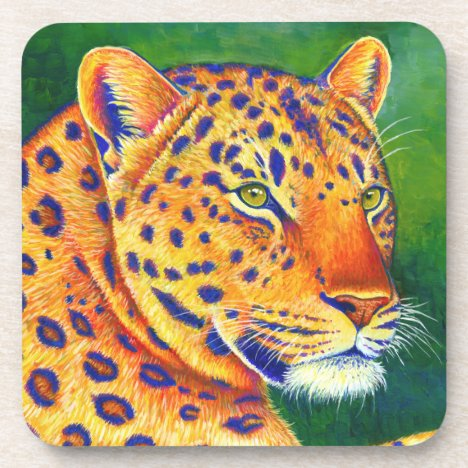Colorful Leopard Big Cats Plastic Coasters