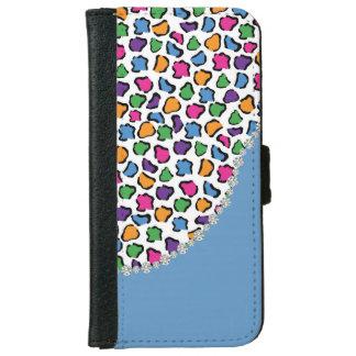 Colorful Leopard Print, Blue, Diamond Twirl Flap iPhone 6 Wallet Case