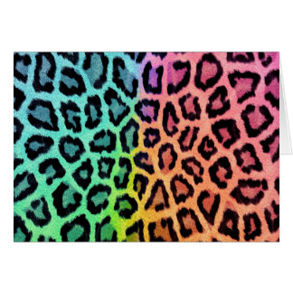 Colorful leopard print card