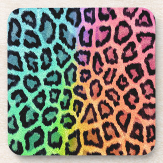 Colorful leopard print drink coaster