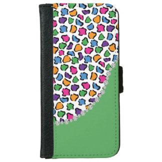Colorful Leopard Print, Green, Diamond Twirl Flap iPhone 6 Wallet Case