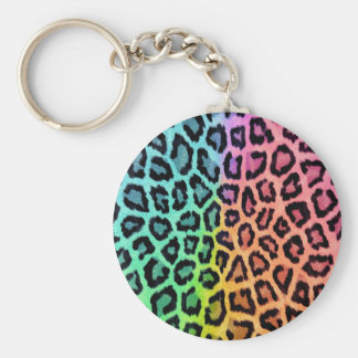 Colorful leopard print keychain