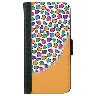 Colorful Leopard Print, Orange, Diamond Twirl Flap iPhone 6 Wallet Case