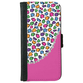 Colorful Leopard Print, Pink, Diamond Twirl Flap iPhone 6 Wallet Case