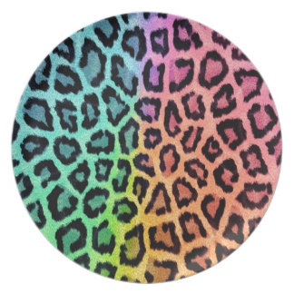Colorful leopard print plate