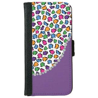 Colorful Leopard Print, Purple, Diamond Twirl Flap iPhone 6 Wallet Case