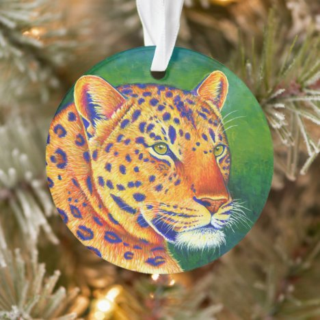 Colorful Leopard Wild Cat Acrylic Ornament