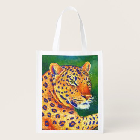 Colorful Leopard Wild Cat Reusable Grocery Bag
