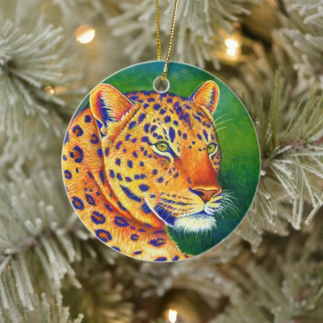 Colorful Leopard Wild Feline Ceramic Ornament