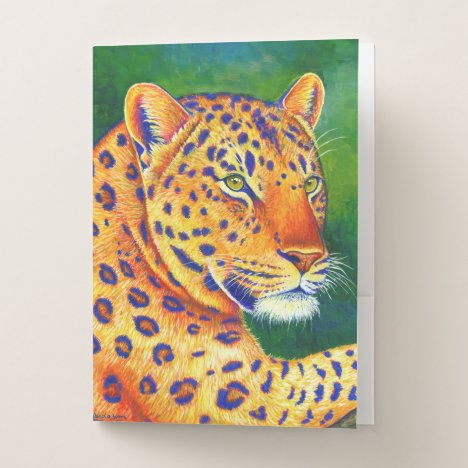 Colorful Leopard Wild Feline Pocket Folder
