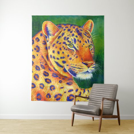 Colorful Leopard Wild Feline Wall Tapestry