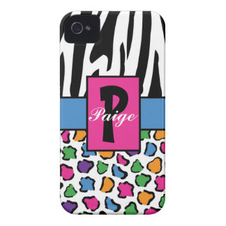 Colorful Leopard & Zebra Print Personalized iPhone 4 Cover