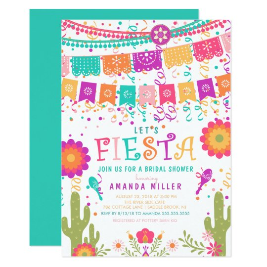 colorful lets fiesta bridal shower invitation