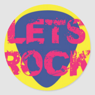 Colorful LETS ROCK on Guitar Pick Classic Round Sticker