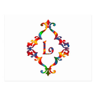 Colorful Letter L Monogram Initial Postcard