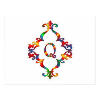 Colorful Letter Q Monogram Initial Postcard