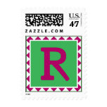 Colorful Letter 'R' Postage Stamp
