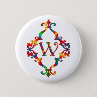 Colorful Letter W Monogram Initial Pinback Button