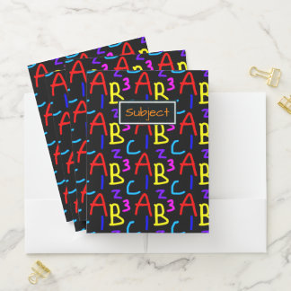 Colorful Letters and Numbers Typography Pattern Pocket Folder