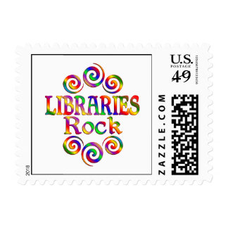 Colorful Libraries Rock Postage