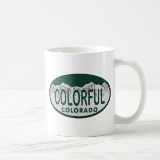 Colorful license oval coffee mug