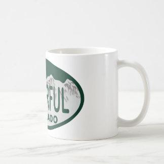 Colorful license oval coffee mugs