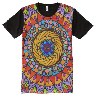 Colorful Life Journey Mandala Indie Art All-Over-Print T-Shirt