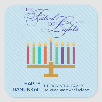 Colorful Light Blue Menorah Hanukkah Square Sticker