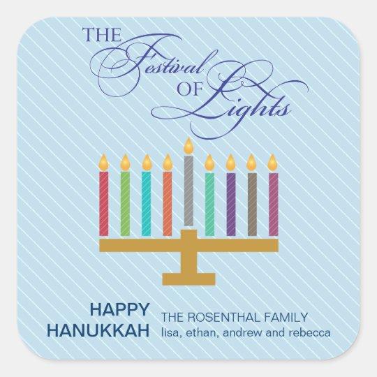 Colorful Light Blue Menorah Hanukkah Square Sticker