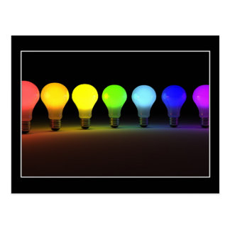 Colorful light bulbs - Postcard