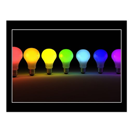 Colorful light bulbs - Postcard