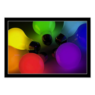 Colorful light bulbs - Poster