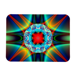 Colorful Light Burst Jewel Fractal Magnet