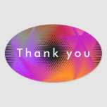 Colorful light design oval sticker