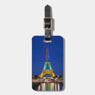 Colorful light display on the Eiffel Tower Bag Tag