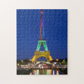 Colorful light display on the Eiffel Tower Jigsaw Puzzle