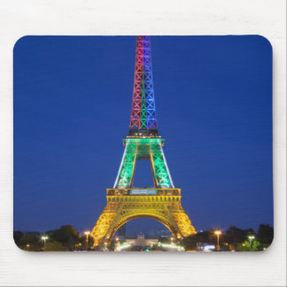 Colorful light display on the Eiffel Tower Mouse Pad
