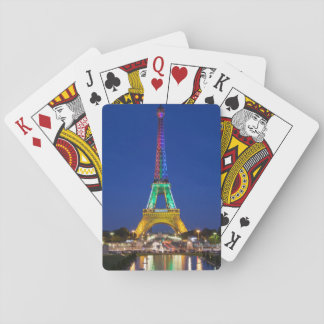Colorful light display on the Eiffel Tower Poker Cards