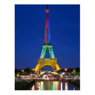 Colorful light display on the Eiffel Tower Postcard