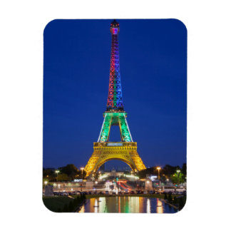 Colorful light display on the Eiffel Tower Rectangular Photo Magnet