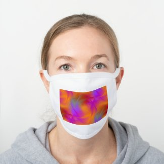Colorful light images design - white cotton face mask