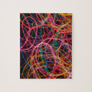 COLORFUL LIGHT LOOPS BLACK BACKGROUND DIGITAL JIGSAW PUZZLES