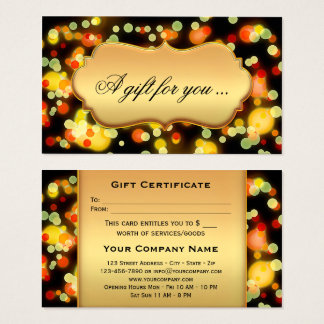 Colorful Light Sparkles Gift Certificate Template