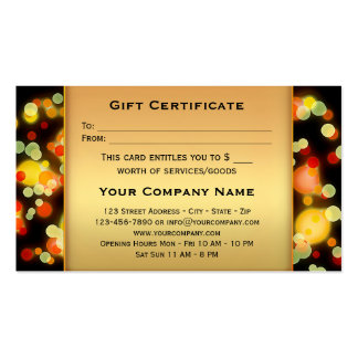 Colorful Light Sparkles Gift Certificate Template Business Card
