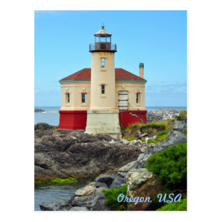 Colorful lighthouse and ocean landscape postcard