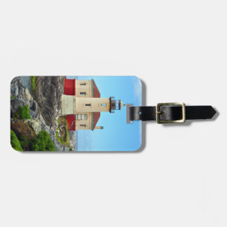 Colorful lighthouse and ocean luggage tag