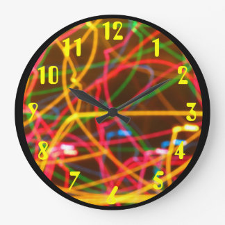 Colorful Lights in Motion Large Clock