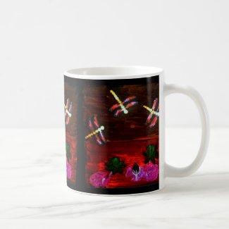 Colorful Lily Pond with Dragonflies Coffee Mug
