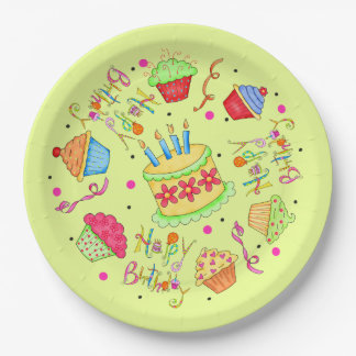 Colorful Lime Green Cupcakes Cake Happy Birthday 9 Inch Paper Plate